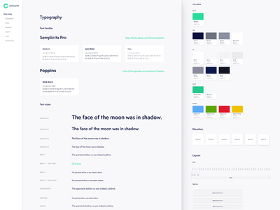 Style Guide for Concuria style rapid prototyping design sprint design systems brand belgium landing page concuria design system style guide