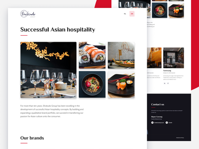 Shokudo Group local business figma belgium design sprint uikit uidesign hotel restaurant thai japan food website landing page sushi