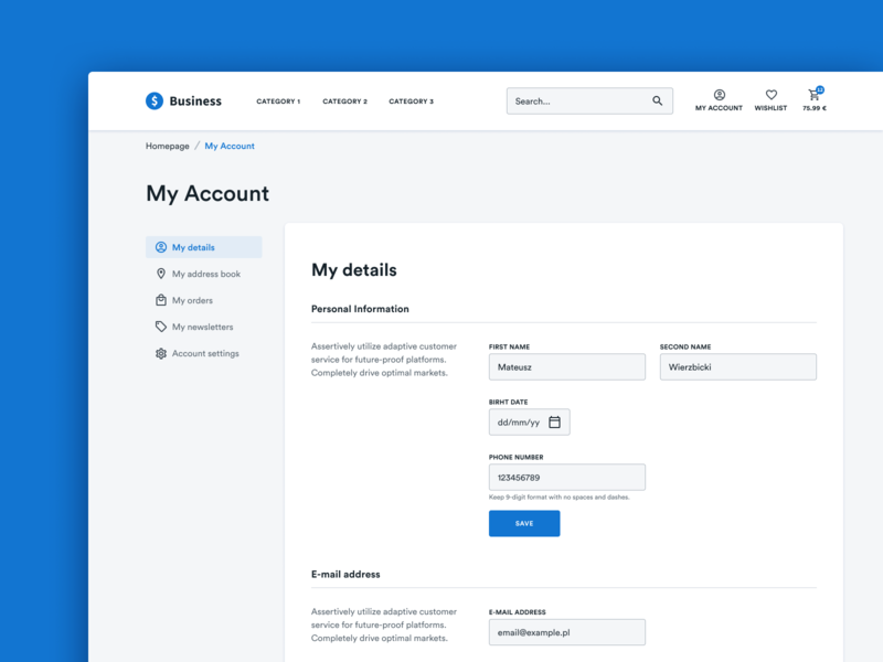 E-commerce - My Account Page design system form 2019 ecommerce belgium poland dashboard webshop e-commerce clean figma account