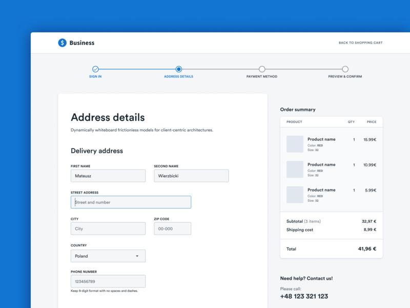 E-commerce - Checkout address checkout webflow uidesign belgium poland ecommerce product design form e-commerce figma