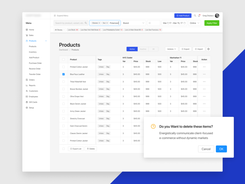 Dashboard POS by Greg Dlubacz redesigned with Ant Design UI Kit reactjs component library figma angular vue component library pos dashboard uikit ant antdesign react e-commerce