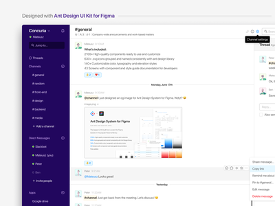 Slack - designed with Ant Design UI Kit for Figma frontend angular vue react design system chat figma dashboard components uikit ant design slack