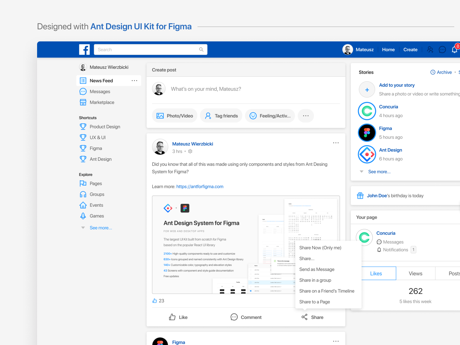 Facebook - designed with Ant Design UI Kit for Figma by