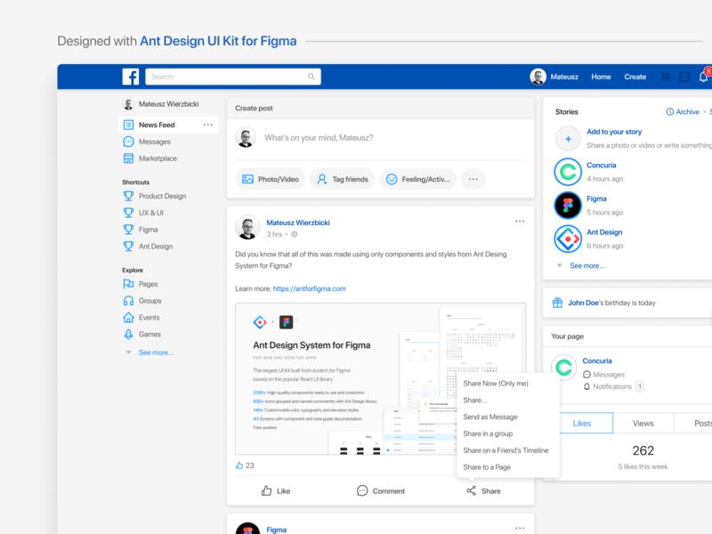 Facebook - designed with Ant Design UI Kit for Figma ant design reactjs components interface sale facebook dashboard ui ux design system figmadesign uikit figma