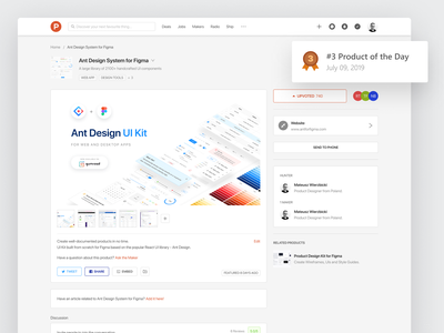 Ant Design System for Figma - ProductHunt usa poland design systems design system uidesign producthunt product freebie figma uikit