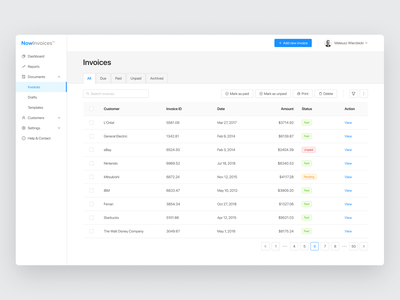 Invoicing Platform Design - Tutorial pagination menu table figma plugin design system uikit ui invoice dashboard figmadesign figma