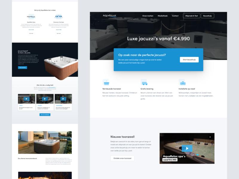 Spa store - Landing page design icons video store jacuzzi spa website ui ux webflow figma belgium landing page