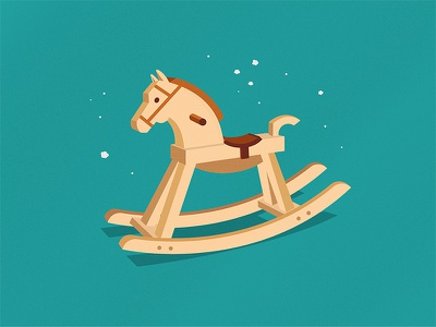 Rocking Horse & Dust Bunnies vintage toy wooden wood horse rocking illustration