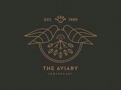 The Aviary logo aviary apothecary monoline birds emblem seal logo
