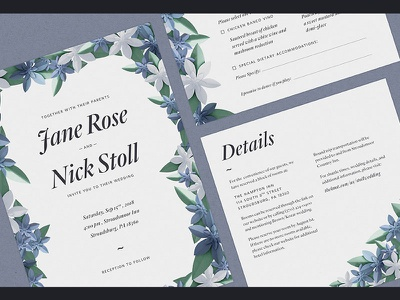 Wedding Invitations Suite quarto photoshop craft invitation wedding paperflowers paper