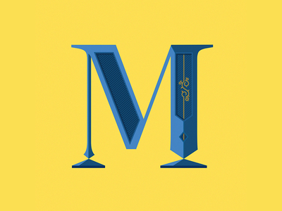 M drop cap vector design typography royal yellow art fauxreal photoshop letter drop cap