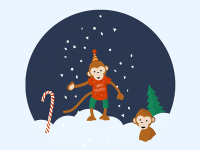 Holiday Monkeys illustration holidays cute procreate snowglobe snow monkeys monkey