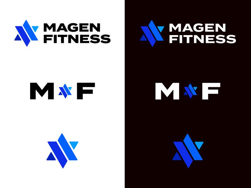 Magen Fitness Logo system blues simple logosystem fitness blue logos logo star of david