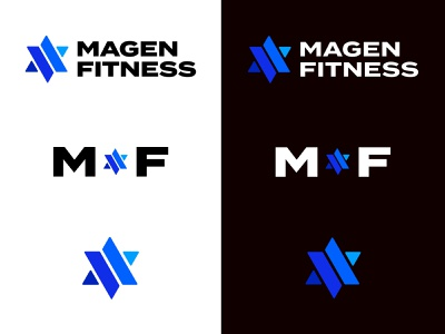 Magen Fitness Logo system blues simple logosystem fitness blue logos logo star of david