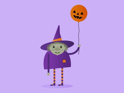 lil witch balloon witch vector cute illustrator illustration