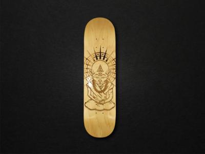 Laser Engraved Monk Skateboard  eye business freethrow shot logo monk skateboard skate illustration
