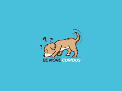 Be More Curious puppy app type free throw shot emoji sticker curious logo dog