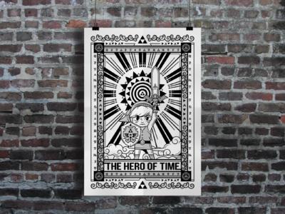 Hero Of Time Poster sword shield illustration mockup poster video games link nintendo gaming zelda