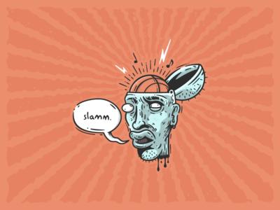 Slamm brain music sports shot logo dunk illustration graphicdesign freethrow branding art basketball