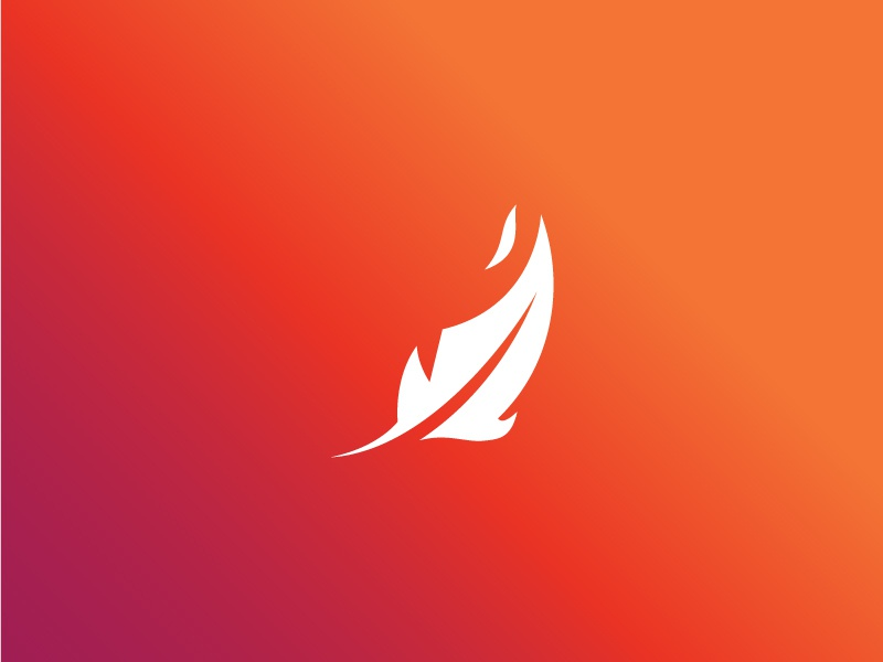 Fire Feather free throw blockchain flame bird phoenix branding logo shot feather fire
