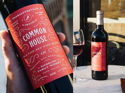Common House Wine Label packaging type vector wine label wine typogaphy