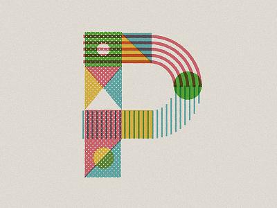 P letter type illustration drop cap