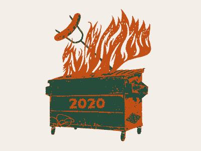 Dumpster Fire meat 2020 tshirts illustration