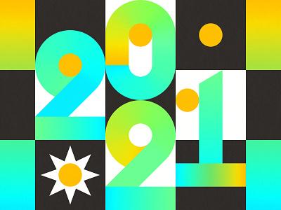 2021 typogaphy gradients new years