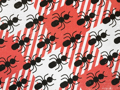 Ants! ants pattern gingham red black white marching picnic blanket