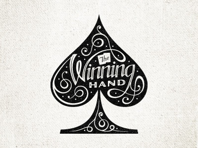 The Winning Hand 2 script lettering spade ace type cards typography
