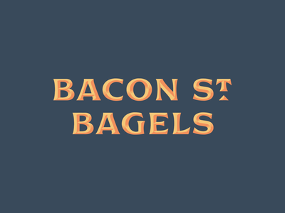 Bacon St. Bagels 1 beveled branding typography type logo