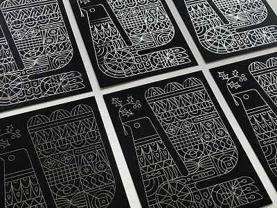 Hundredweight Holiday Cards black christmas holiday bird illustration foil silver print