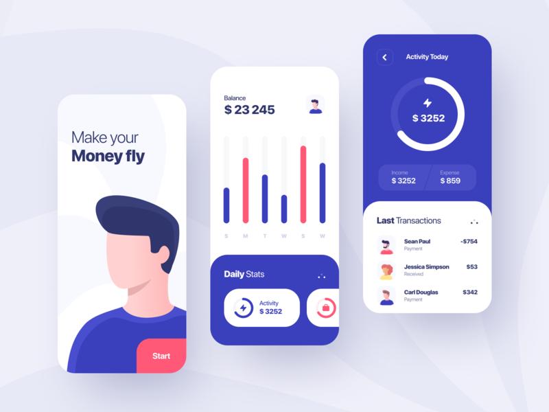 Finance App Concept inspiration banking finance design illustration app design app ui