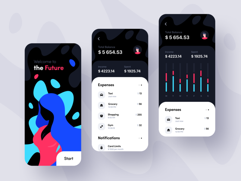 Mobile Banking App colors clean ios business bank app bank banking design inspiration cryptocurrency finance app app design ui