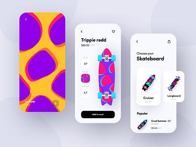 Skate app branding print illustration app sport skate ui app design