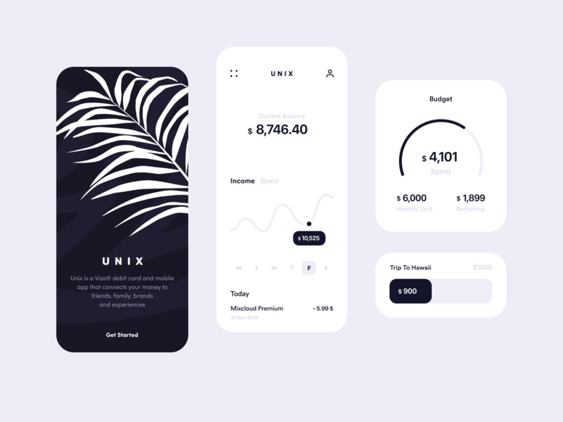 Unix Banking App branding art ios product design card ux clean minimalism minimal business finances bank banking colors illustration finance design app inspiration app design