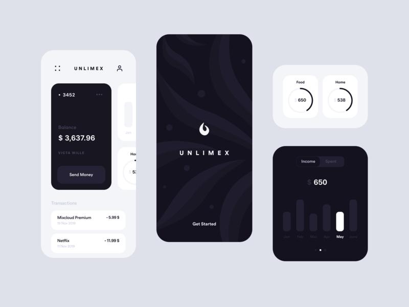Unlimex Banking App Redesign bank card card business card bank app ux clean business bank ios branding banking illustration finance design inspiration app ui app design