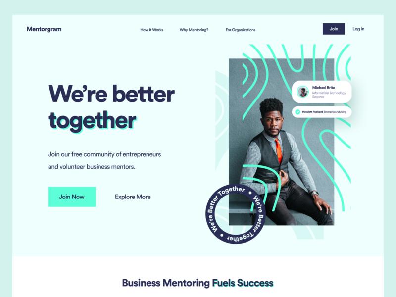 Mentorgram Website hero homepage colors uidesign inspiration interface clean logo brand visual identity corporate branding design ui website web
