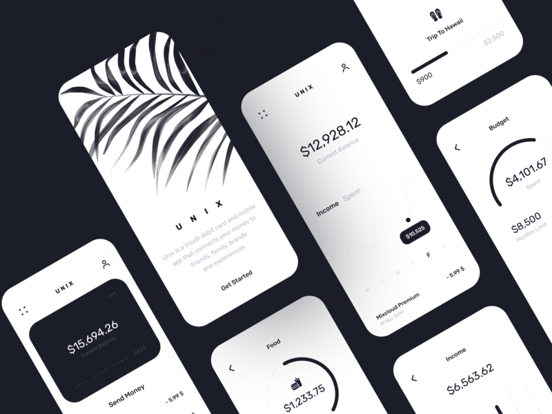Unix Banking App business card bank app business minimal bank banking clean ios finance branding design illustration inspiration app design app ui