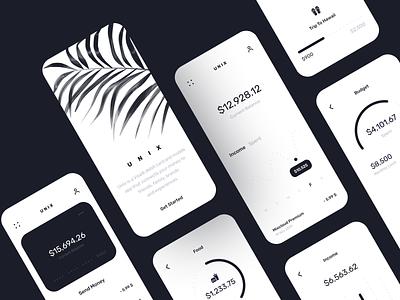 Unix Banking App business card bank app business minimal bank banking clean ios finance branding design illustration inspiration app design app ui