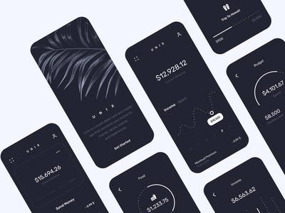Unix Dark Mode dashboard bank app business banking bank clean ios finance branding illustration design inspiration app design app ui