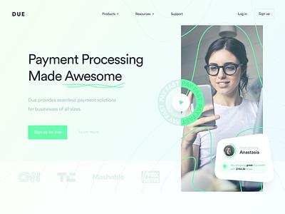 DUE Landing Page Concept payments webdesign website web landingpage landing finance branding design inspiration ui