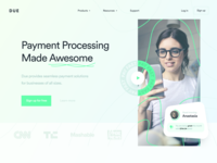 DUE Landing Page Concept payments webdesign website web landingpage landing finance branding design inspiration ui