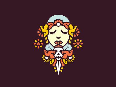 Beauty-WIP illustration girl woman design flowers skull