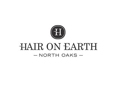 Hair On Earth logo identity simple salon hair iconic