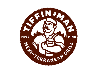 Tiffin Man one color grill badge character illustration logo