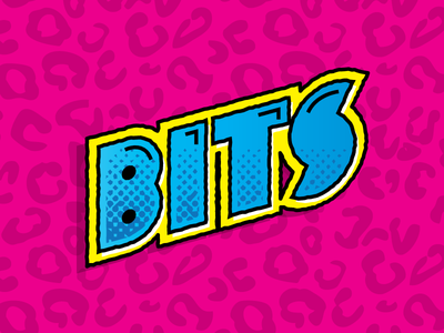 Funky Bits dopeness crazy pop neon game font patterns type. custom type