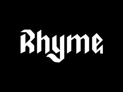 Rhyme black type logo letter