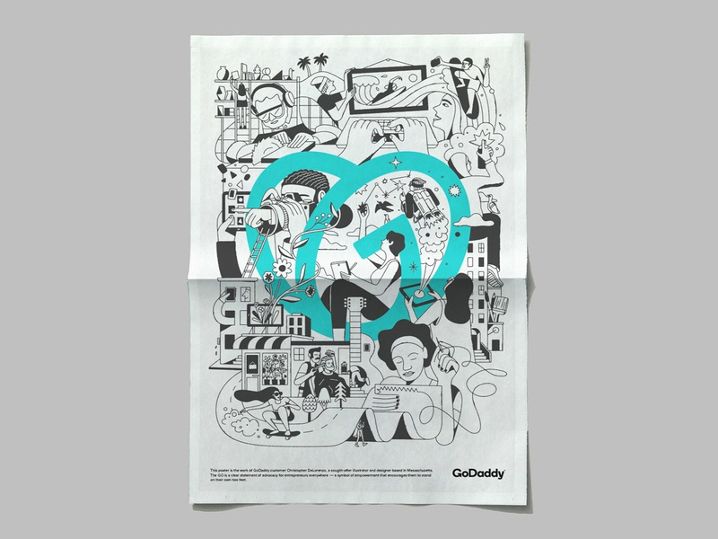 New stuff for GoDaddy poster swag art direction branding illustration design