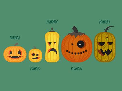 Pumpkin Types halloween pumpkins illustrator vector illustration